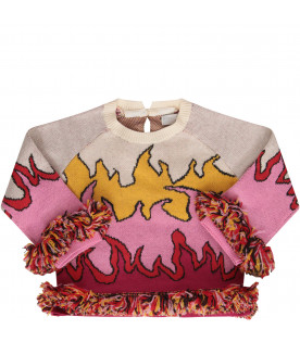 STELLA MCCARTNEY KIDS Colorful sweater with fringes
