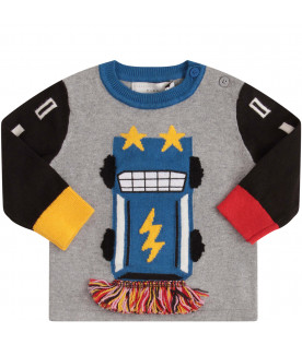 STELLA MCCARTNEY KIDS Grey sweater with colorful  car
