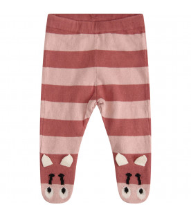 STELLA MCCARTNEY KIDS Collant a righe rosa cipria e rosa