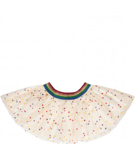 STELLA MCCARTNEY KIDS Gonna bianca con pois colorati