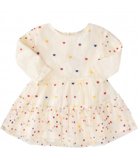 STELLA MCCARTNEY KIDS Ivory dress with colorful hearts and polka dots