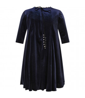 Blue girl dress with pearl