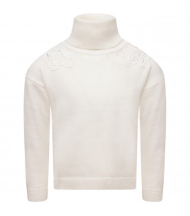 CHLOÉ KIDS White girl sweater with embroidery