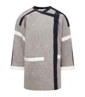 CHLOÉ KIDS Grey girl overcoat with blue and white detail