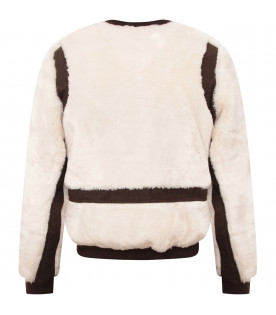 CHLOÉ KIDS Ivory girl bomber jacket with brown detail