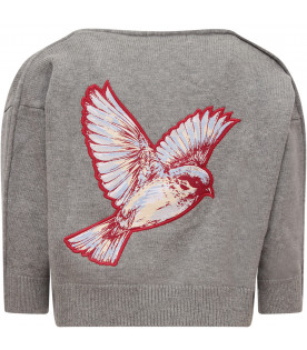 STELLA MCCARTNEY KIDS Grey girl cardigan with colorful patch