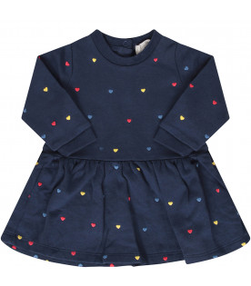 STELLA MCCARTNEY KIDS Blue dress with colorful hearts