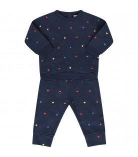 STELLA MCCARTNEY KIDS Tuta blu con cuori colorati