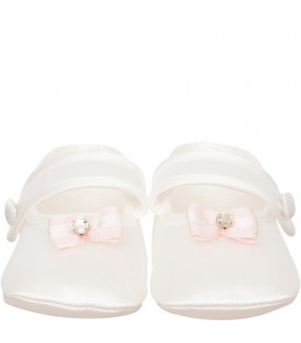 LÒLÒ White flat shoes with bow