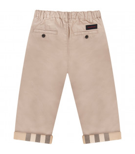 BURBERRY KIDS Beige boy pants with checked turned-up