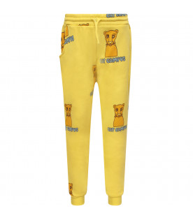 MINI RODINI Yellow boy sweatpant with colorful print