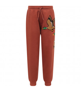 MINI RODINI Brown boy sweatpant with colorful ducks