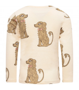 MINI RODINI Ivory girl T-shirt with colorful dogs