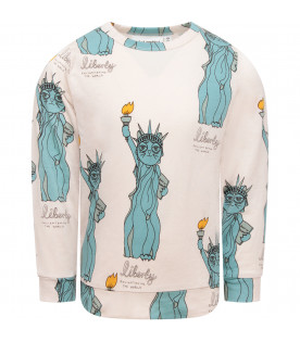 MINI RODINI Grey boy T-shirt with colorful all-over Statue of Liberty