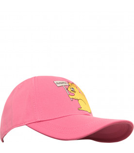 MINI RODINI Pink hat with yellow squirrel