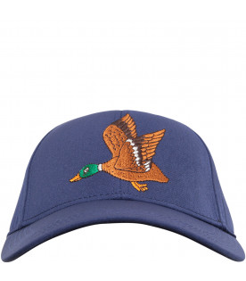 MINI RODINI Blue hat with colorful duck