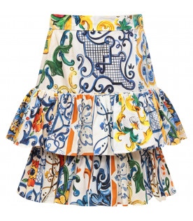 DOLCE & GABBANA KIDS White girl skirt with colorful iconic maioliche