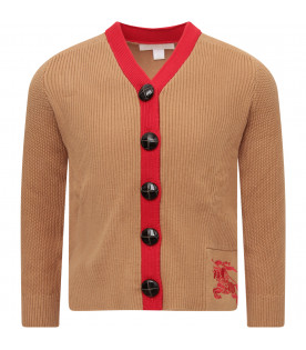 BURBERRY KIDS Camel cardigan with red trimming