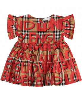 BURBERRY KIDS Viantege Check set with red graffiti
