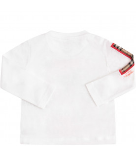 BURBERRY KIDS T-shirt bianca con stampa multicolor