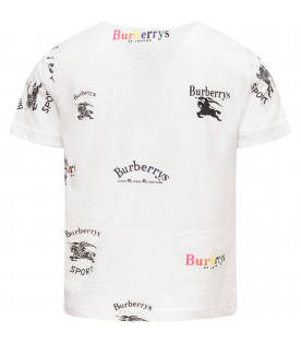 BURBERRY KIDS White t-shirt with all-over logo