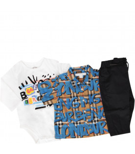 BURBERRY KIDS Set con motivo Vintage check e graffiti azzurri