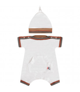 BURBERRY KIDS White set with striped trimming