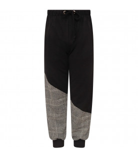 NATASHA ZINKO Black boy sweatpants with white side bands