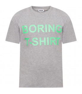 Grey boy T-shirt with neon green print