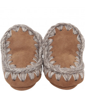 MOU KIDS Brown boots with ivory logo