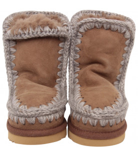 MOU KIDS Brown boots with beige logo