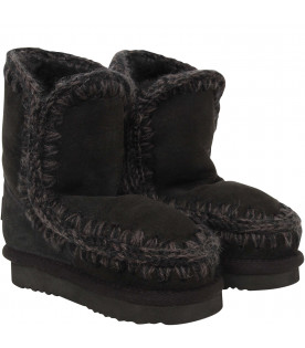 MOU KIDS Black boots with beige logo