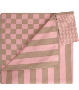FENDI KIDS Pink and beige blanket with check