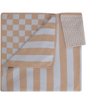 FENDI KIDS Light blue and beige blanket with check