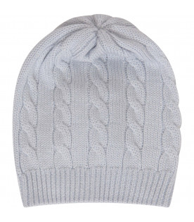 LITTLE BEAR Light blue hat with cable knit