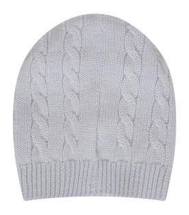 Light blue hat with cable knit