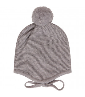 LITTLE BEAR Cappello grigio con pom-pom
