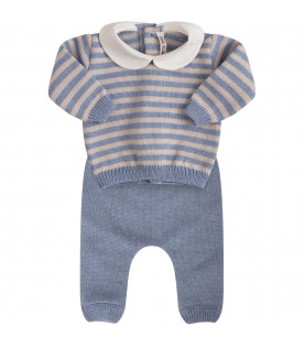 LITTLE BEAR Light blue and beige striped suit