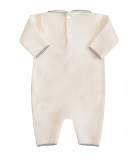 LITTLE BEAR White babygrow with grey pom-pom