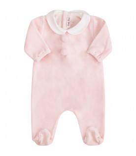 LITTLE BEAR Pink babygrow with pom-pom
