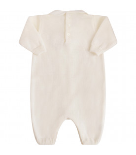 LITTLE BEAR White babygrow with ruffle