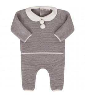 LITTLE BEAR Grey suit with white pom-pom