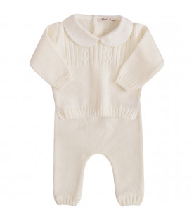 LITTLE BEAR White suit with cable knit