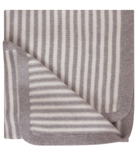 LITTLE BEAR White and grey striped blanket