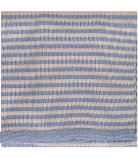 LITTLE BEAR Beige and light blue striped blanket