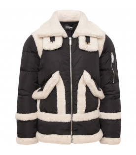 DSQUARED2 Black girl quilted jacket with sheraling details