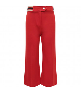 GUCCI KIDS Red girl pants with blue and red logo