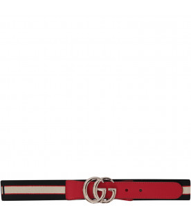 GUCCI KIDS Clorful belt with ivory andd red logo