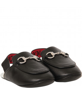 GUCCI KIDS Black princetown with red logo