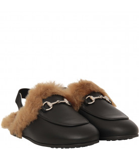 GUCCI KIDS Black princetown with faux fur